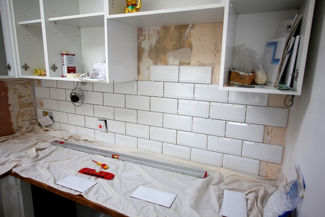 Kitchen White Brick Tile Wall