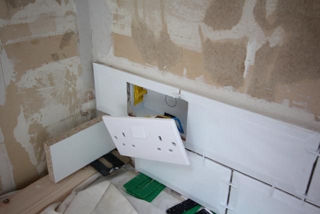 White Brick Tile Plug Cut
