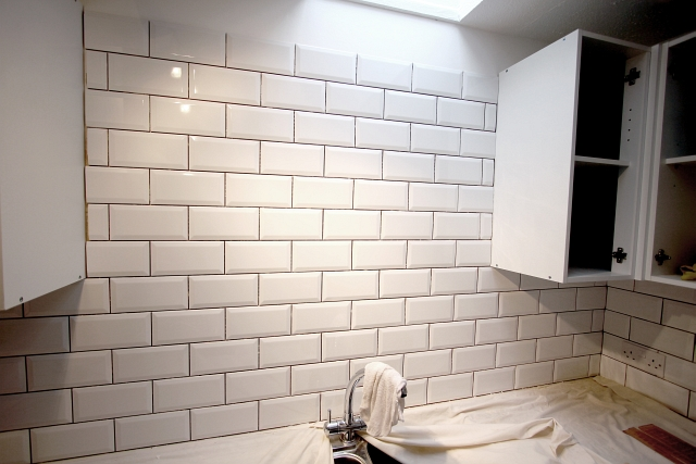 White Grout White Brick Tile Wall
