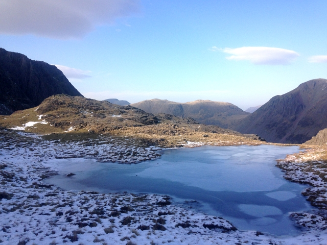 Scafell Pike Snow Frozen Lake