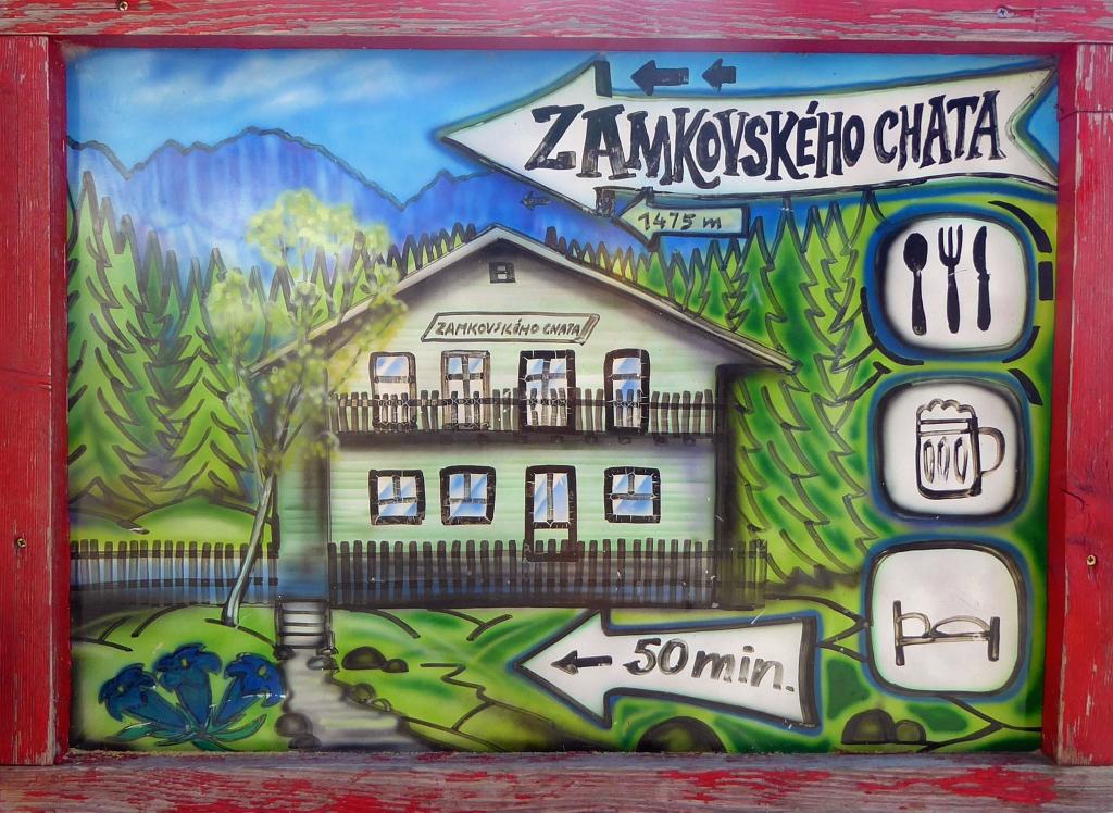 Zamkovskeho chata hut sign