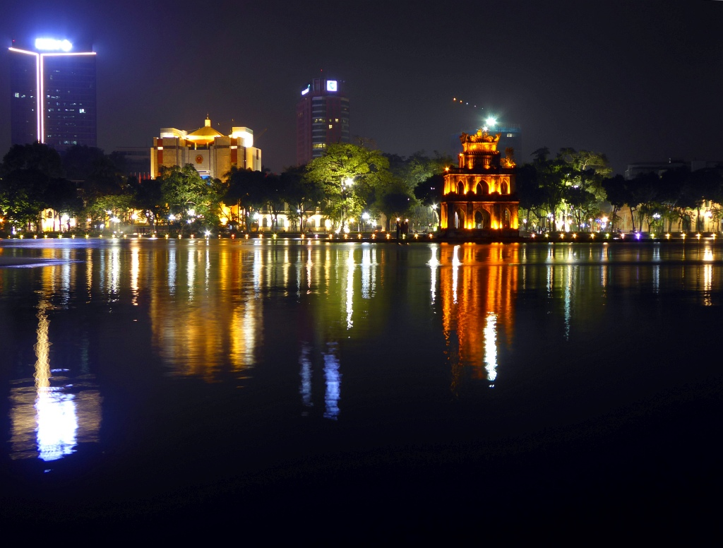 Hanoi Lake Night Scene